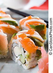 japanese food - japanese healthy cuisine, sushi roll