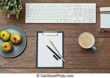 Necessary at work - Office desk with things which are...