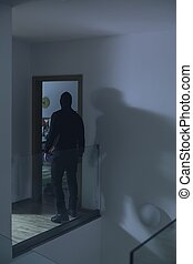 Burglar in house - Image of burglar in house at night