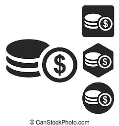 Dollar rouleau icon set, monochrome, isolated on white