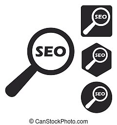 SEO search icon set, monochrome, isolated on white