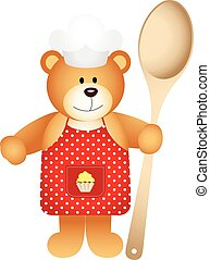 Cook teddy bear with wooden spoon