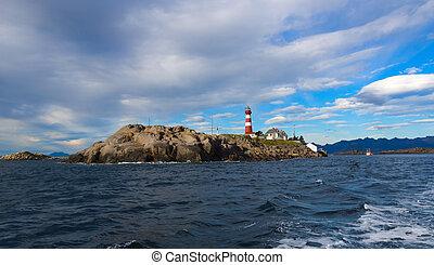 Lighthouse on norwegian island Skrova