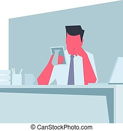 Businessman misses. - Businessman sitting at a table,...