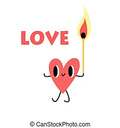heart with a lighted match