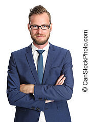 Handsome businessman in a blue suit - Attractive businessman...