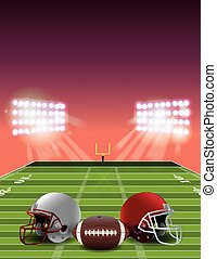 American Football Field at Sunset - An American football...