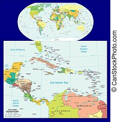 World Central America Caribbean political map aerial view