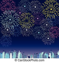 Happy New Year with fireworks