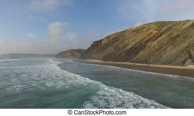 Aerial from ocean waves in Portugal