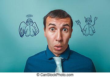 man Male businessman surprise surprise angel devil demon...