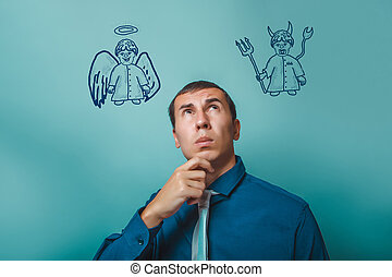 businessman thinking man looking up angel devil demon...
