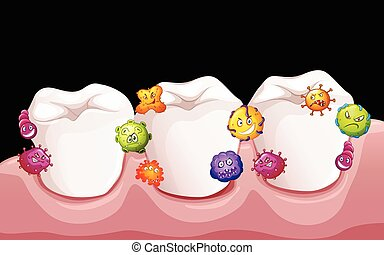 Bacteria in human teeth illustration