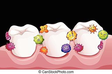 Bacteria in human teeth illustration