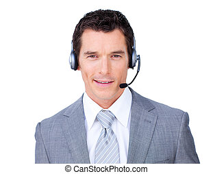 Self-assured businessman using headset against a white...