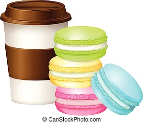 Coffee cup and colorful macaron illustration