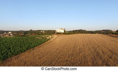 Aerial from wine and wheat fields i