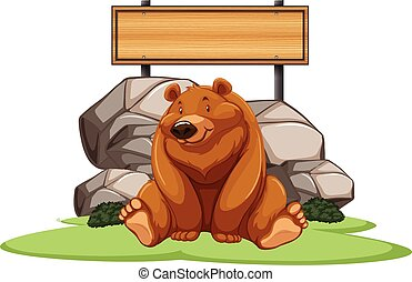 Grizzly bear sitting next to the sign illustration