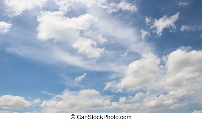 moving cloud on blue sky