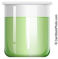 Green solution in glass beaker