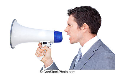 Angry businessman yelling through a megaphone against a...