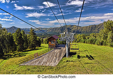 ski lift mountain in summer
