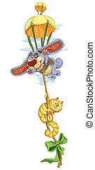 Cartoon cat and dog travel on a special parachute - The...