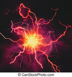 High voltage strike, abstract technology and science...