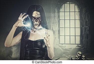 helloween, mujer, necromancer, cripta, contra, ventana,...