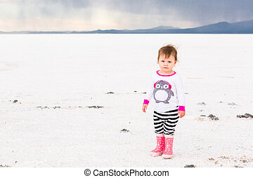 Bonneville Salt Flats - Toddler girl playing at Bonneville...