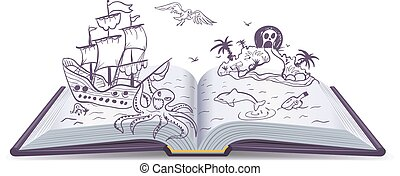 Open book Adventure. Treasures, pirates, sailing ships,...