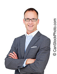 Attractive mature businessman wearing glasses against a...