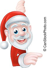 Santa Cartoon - Cartoon Christmas Santa peeking around and...