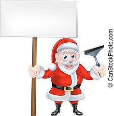 Cartoon Santa Holding Sign and Squeegee - A Christmas...