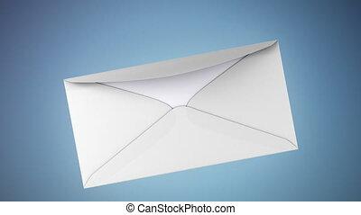 US dollar transfer inside envelope - Isolated on blue...