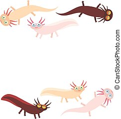 Cute orange pink brown Axolotl Cartoon character (Mexican salamander, Ambystoma mexicanum) aquarium animal on white background. Vector