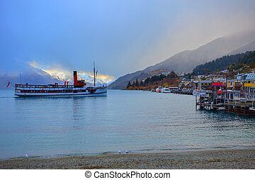 scenic of beautiful landscape wakatipu lake in queen town...