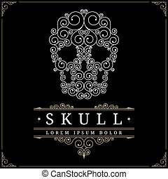 Skull retro vintage luxury logo template with flourishes...