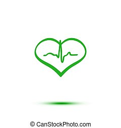Green heart and ecg hand-drawn icon