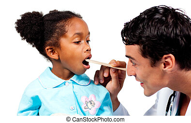 Concentrated doctor checking little girl\'s throat isolated...