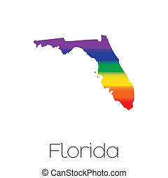 LGBT Flag inside the State of Florida - An LGBT Flag inside...