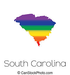 LGBT Flag inside the State of South Carolina - An LGBT Flag...