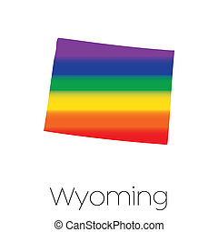 LGBT Flag inside the State of Wyoming