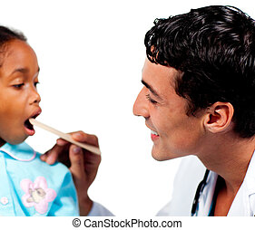 Male doctor checking little girl\'s throat isolated on a...
