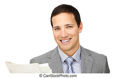 Assertive businessman reading a newspaper isolated on a...