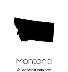 Illustrated Shape of the State of Montana - An Illustrated...