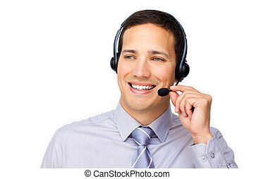 Dashing customer service agent with headset on against a...