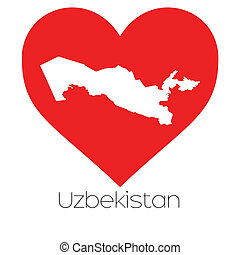 Heart illustration with the shape of Uzbekistan - A Heart...