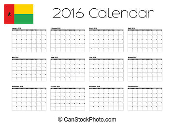 2016 Calendar with the Flag of Guinea Bissau - A 2016...