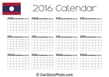 2016 Calendar with the Flag of Laos - A 2016 Calendar with...